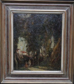 Village Gossip - British early 20th century art wooded landscape oil painting