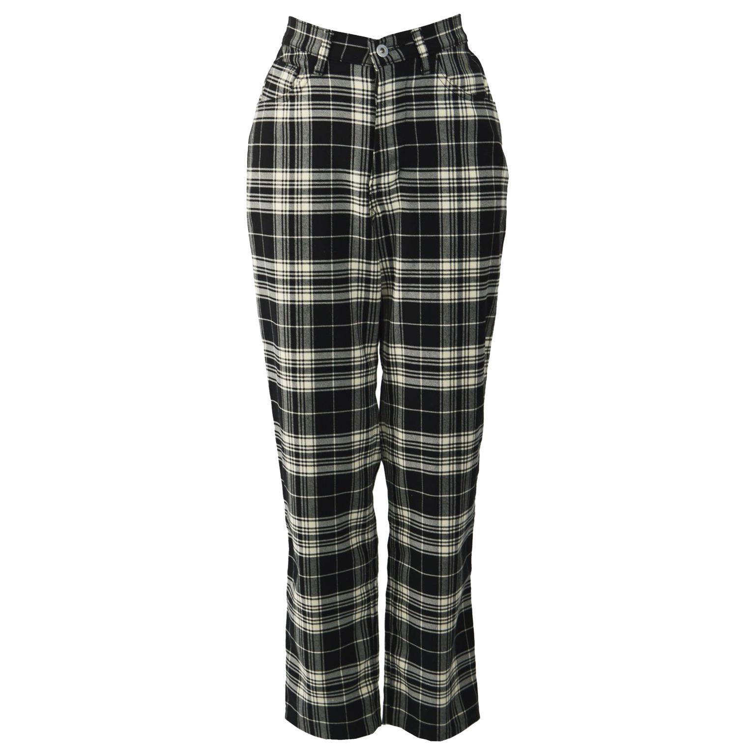 Joseph Vintage Black & White Check Trousers Pants