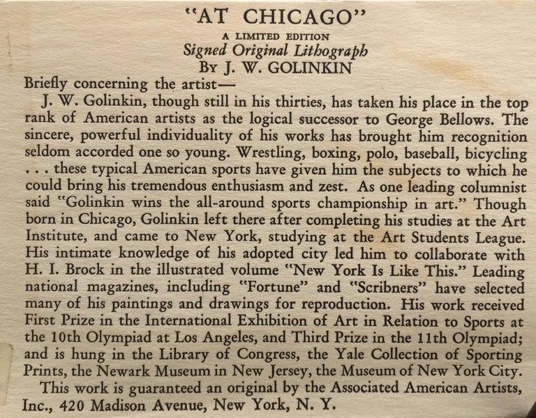 AT CHICAGO - Gray Figurative Print by Joseph W. Golinkin