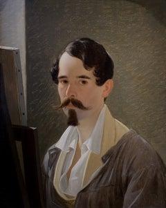Self Portrait. Original Oil Painting Austrian 19th Century