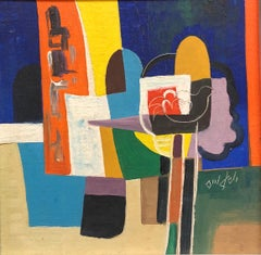 Israeli Modernist Cubist Abstract Still Life with Bird  Oil Painting