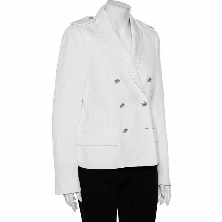Gray Joseph White Cotton & Ramie Double Breasted Yvette Blazer L For Sale