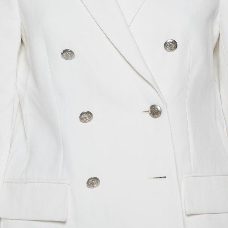 Joseph White Cotton & Ramie Double Breasted Yvette Blazer L For Sale 2