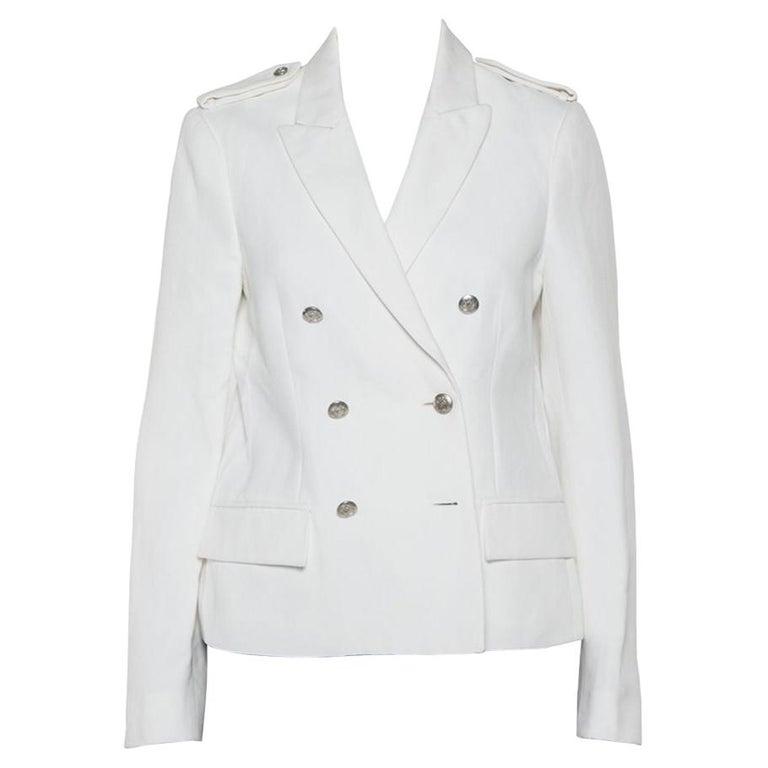 Joseph White Cotton & Ramie Double Breasted Yvette Blazer L For Sale