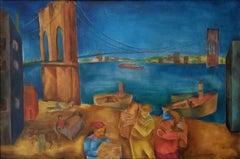 """Along the Hudson River, Brooklyn Bridge,"" Joseph Wolins WPA New York Cityscape"