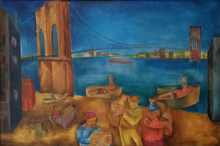 """Along the Hudson River, Brooklyn Bridge,"" Joseph Wolins WPA New York Cityscape - Painting by Joseph Wolins"