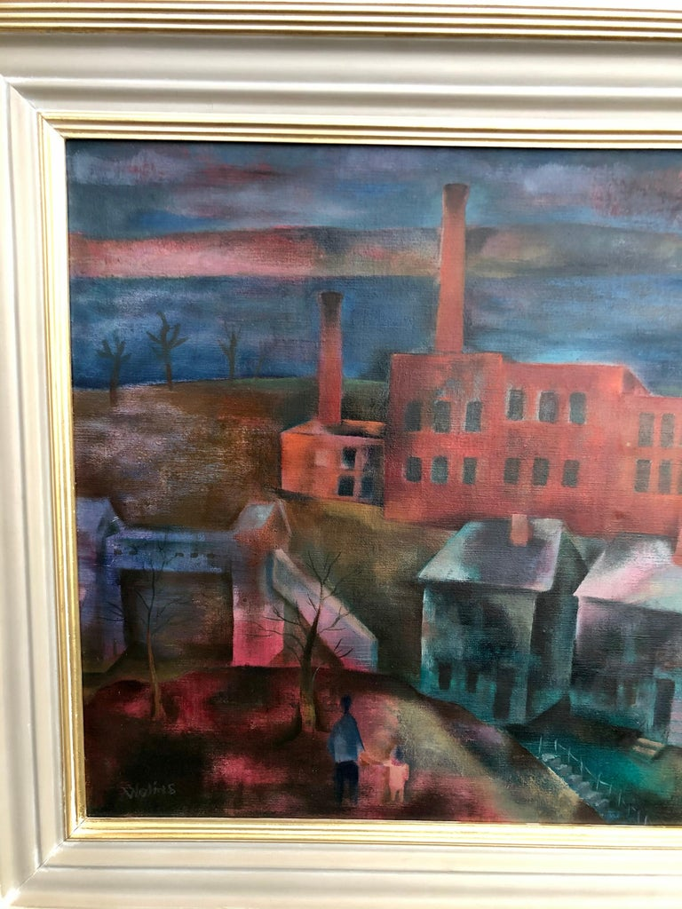 Industry Along the River - Post-War Painting by Joseph Wolins