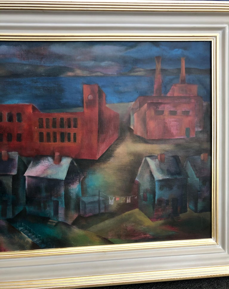 Industry Along the River - Beige Landscape Painting by Joseph Wolins