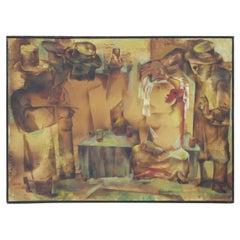 """The Bride"" Cubist Figurative Painting"
