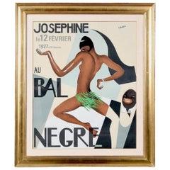 """Josephine Baker Color Lithograph Poster, """"Au Bal Negre"""""""