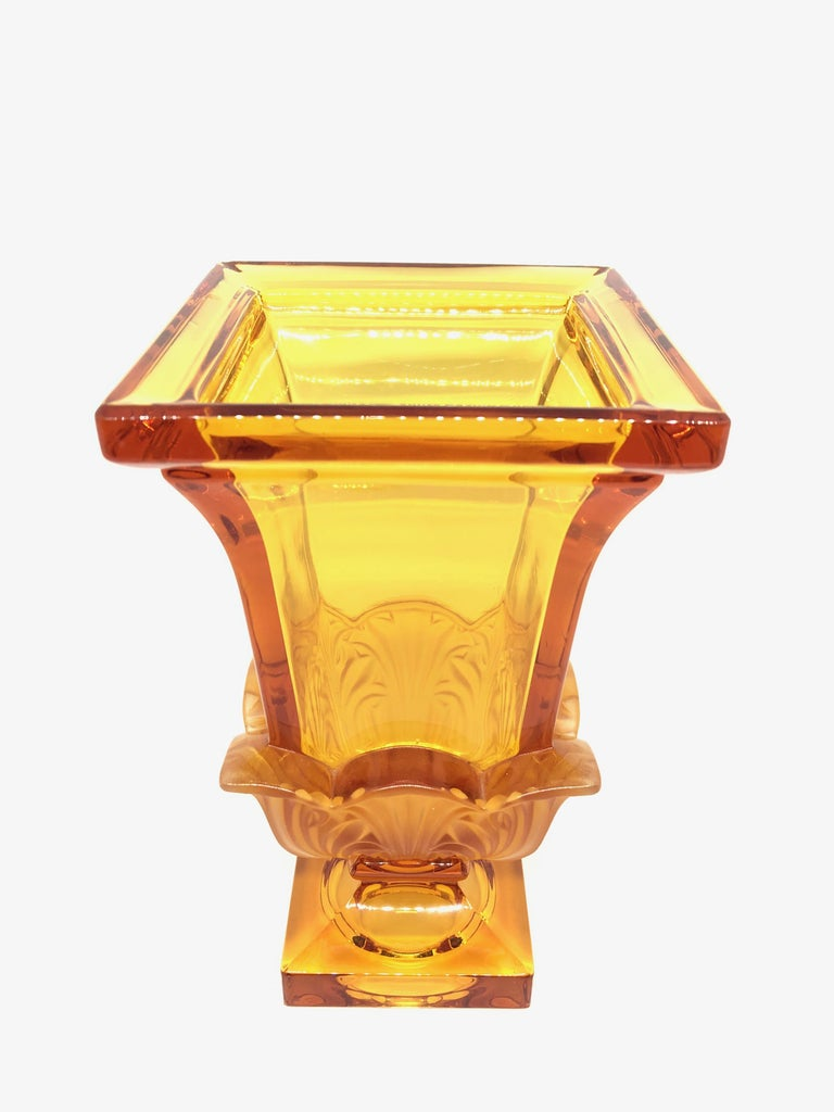 Czech Josephinenhuette Moser Style Amber colored Glass footed Vase Catchall, 1920s For Sale