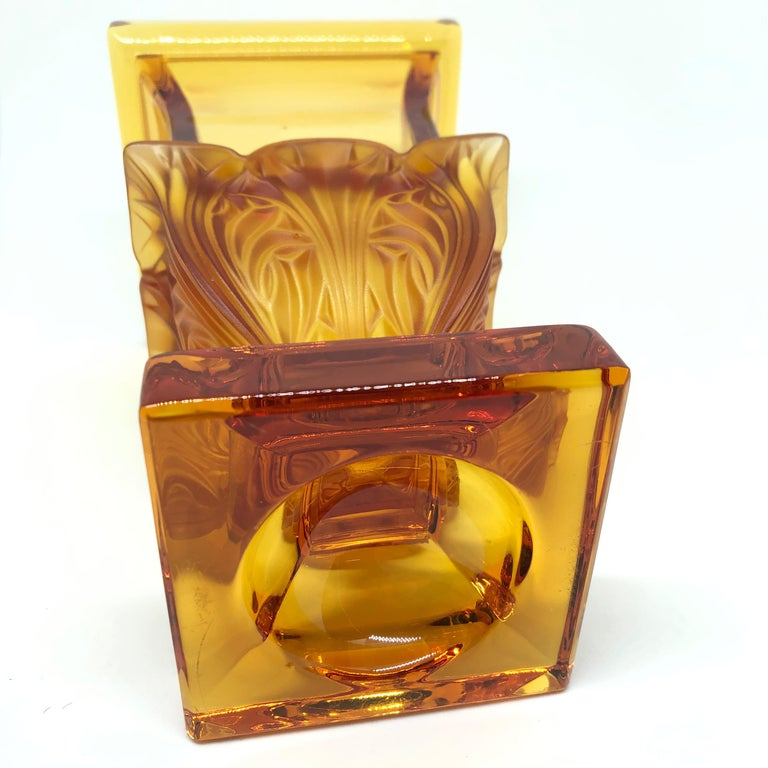 Crystal Josephinenhuette Moser Style Amber colored Glass footed Vase Catchall, 1920s For Sale