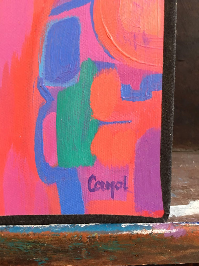 Dancer, Abstract French Oil Painting, Large Size - Pink Figurative Painting by Josette Cayol