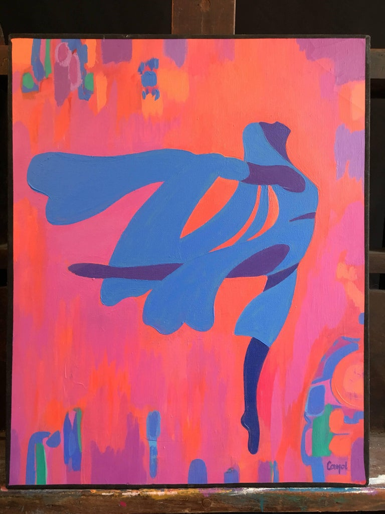 Dancer, Abstract French Oil Painting, Large Size For Sale 2