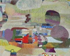 Big Sky, Horizontal Abstract Painting in Yellow, Eggplant, Sage Green, Orange