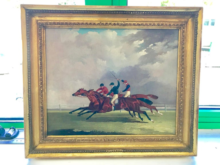 Joshua Dalby - Horse racing, St. Leger, Doncaster - Gray Animal Painting by Joshua Dalby