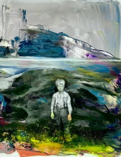 Joshua Flint, An Ocean of Air, surreal figurative oil painting, 2020