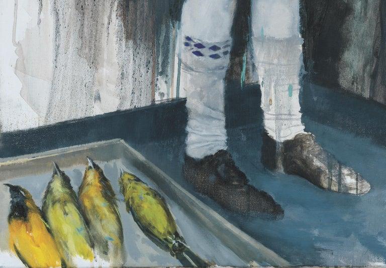 Joshua Flint, Backbone, surrealist figurative oil painting, 2018 - Surrealist Painting by Joshua Flint