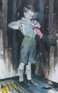 Joshua Flint, Backbone, surrealist figurative oil painting, 2018
