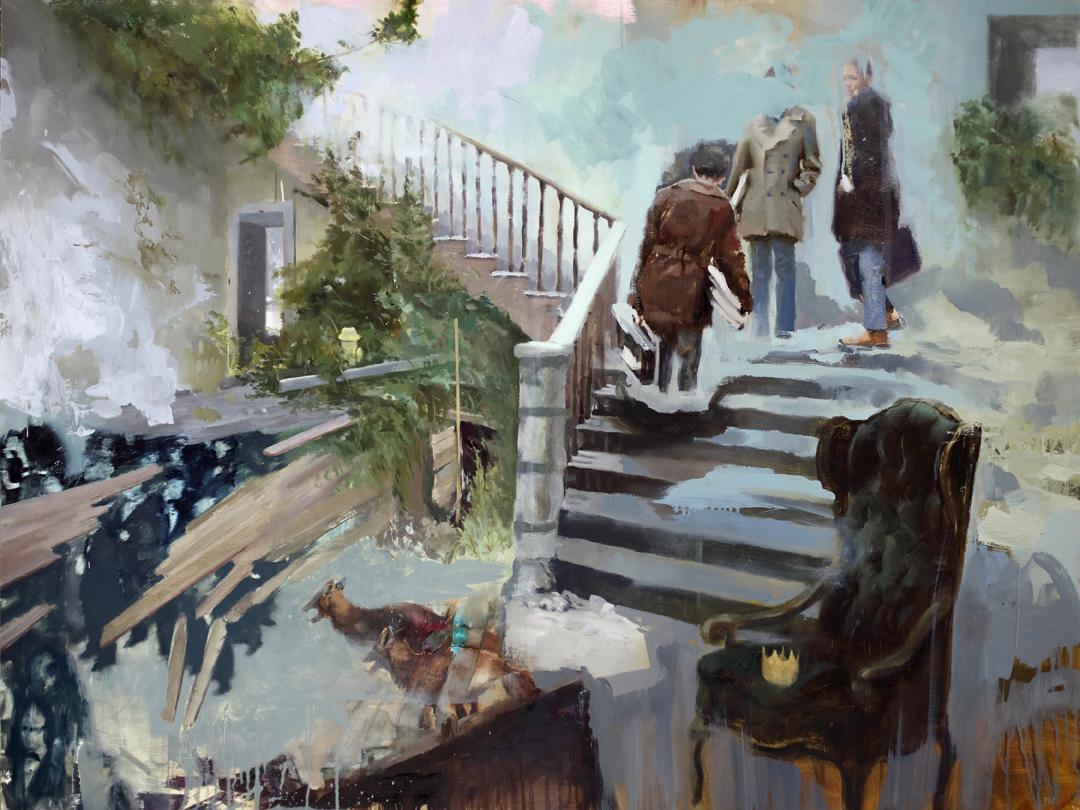 Carousel, surrealist figurative oil painting, 2017
