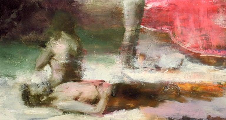 Flashback/Flashforward, vibrant surrealist figurative oil painting, 2020 - Surrealist Painting by Joshua Flint