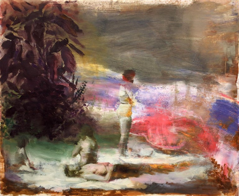 Joshua Flint Figurative Painting - Flashback/Flashforward, vibrant surrealist figurative oil painting, 2020