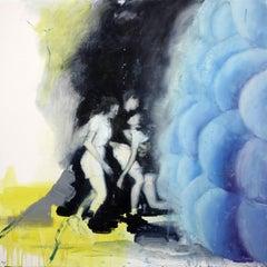 Joshua Flint, Magnetic Fields, surrealist oil on wood genre painting, 2018