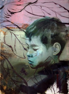 The Hidden & Unknowable, pink and purple surrealist oil painting portrait, 2020
