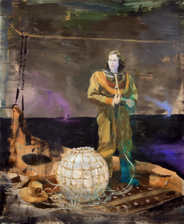 The Poet, multicolored surrealist figurative oil painting, 2020