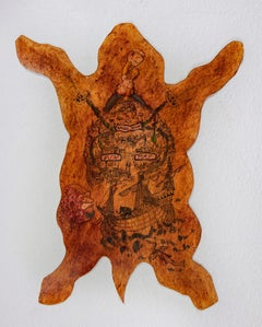 Animal Skin Textile Sculpture: 'Aurora-Rhome Fun Map'