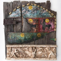 Painting & sculpture on old barn door: 'The Riddle of the Horse'