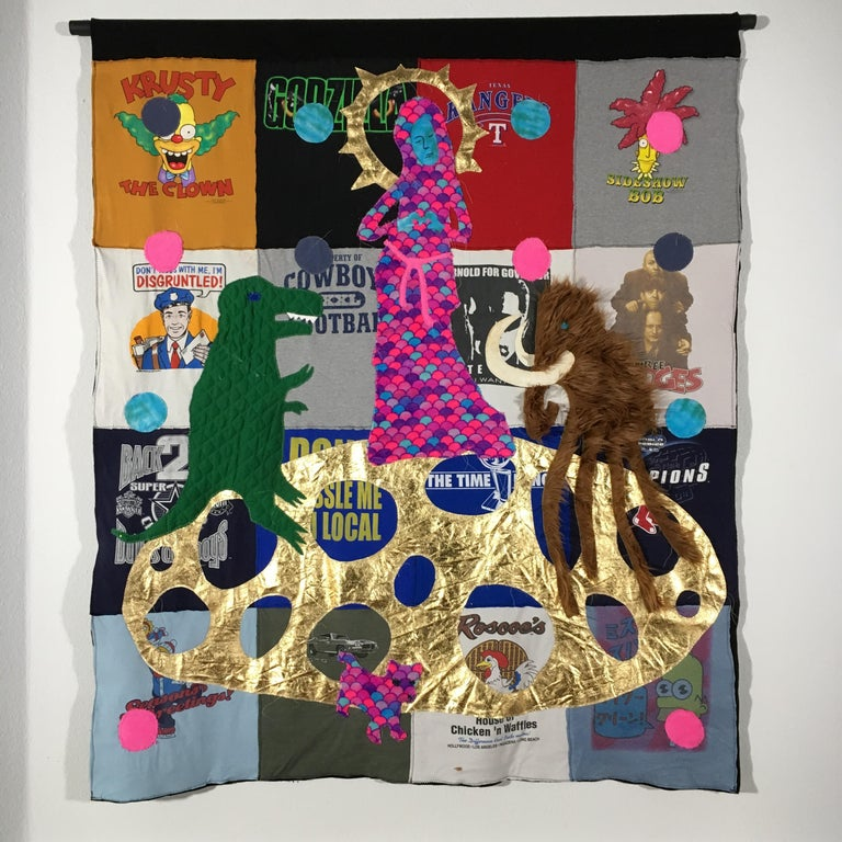 Textile Tapestry with Dinosaur: 'The Marriage of the Long Legged Mammoth' - Mixed Media Art by Joshua Goode