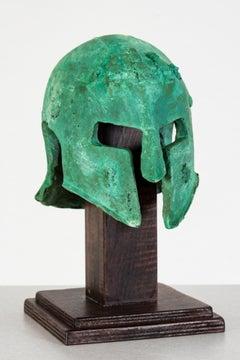 Bronze hand cast, patinaed sculpture: 'Rhoman Helmet'