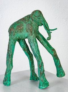 Bronze hand cast, patinaed sculpture: 'The Long Legged Mammoth'