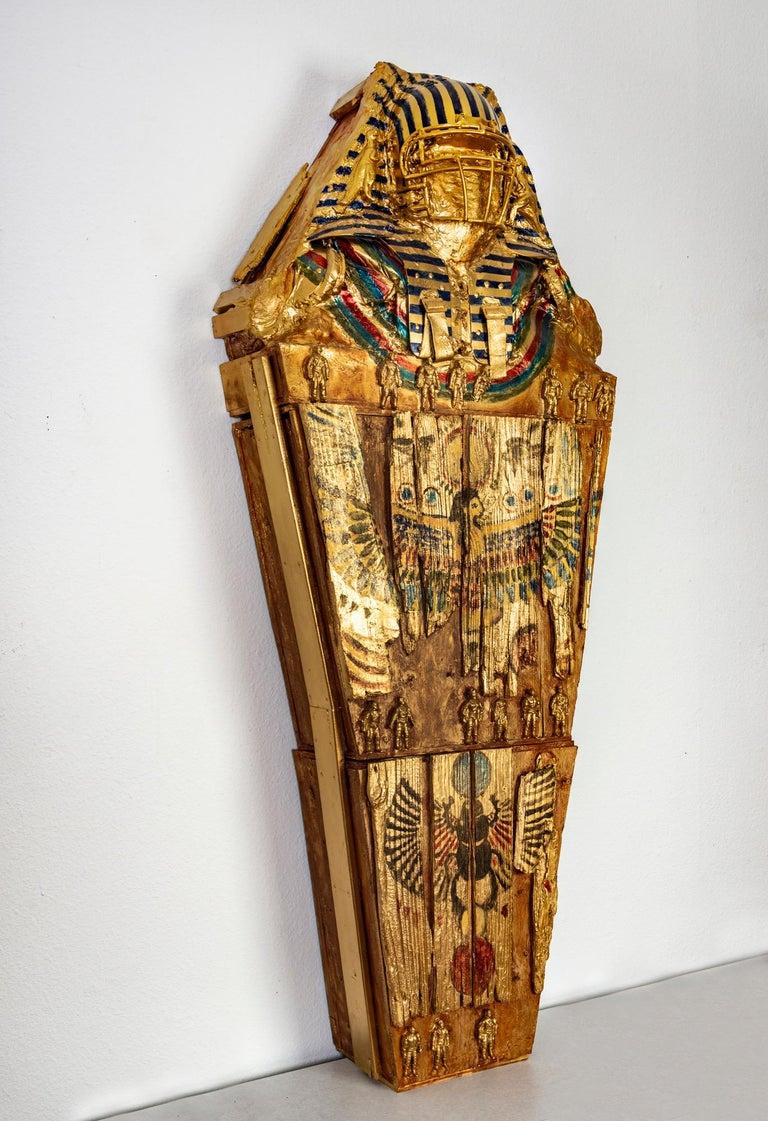 Joshua Goode Figurative Sculpture - Large free standing sculpture: 'Sacrophagus of a Rhoman King'