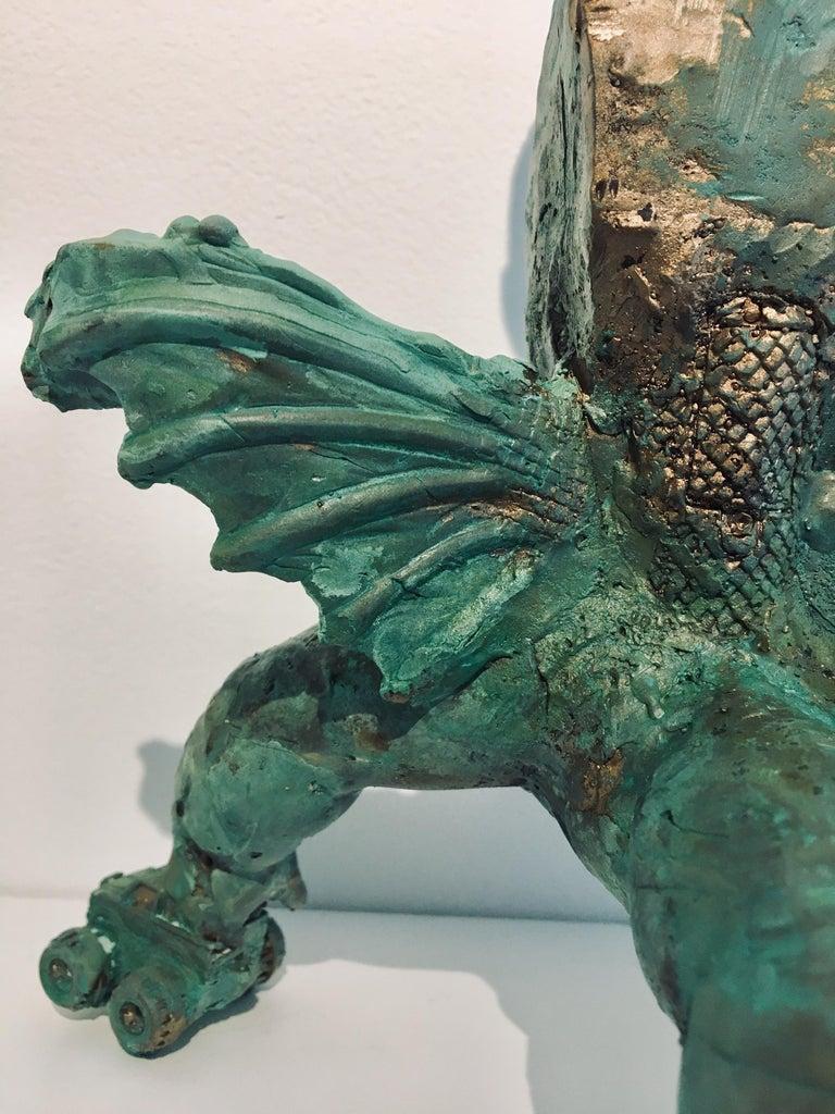 Modern Bronze Relic Sculpture of figure with 3 legs: 'Rhoman Fertility Goddess' For Sale 7