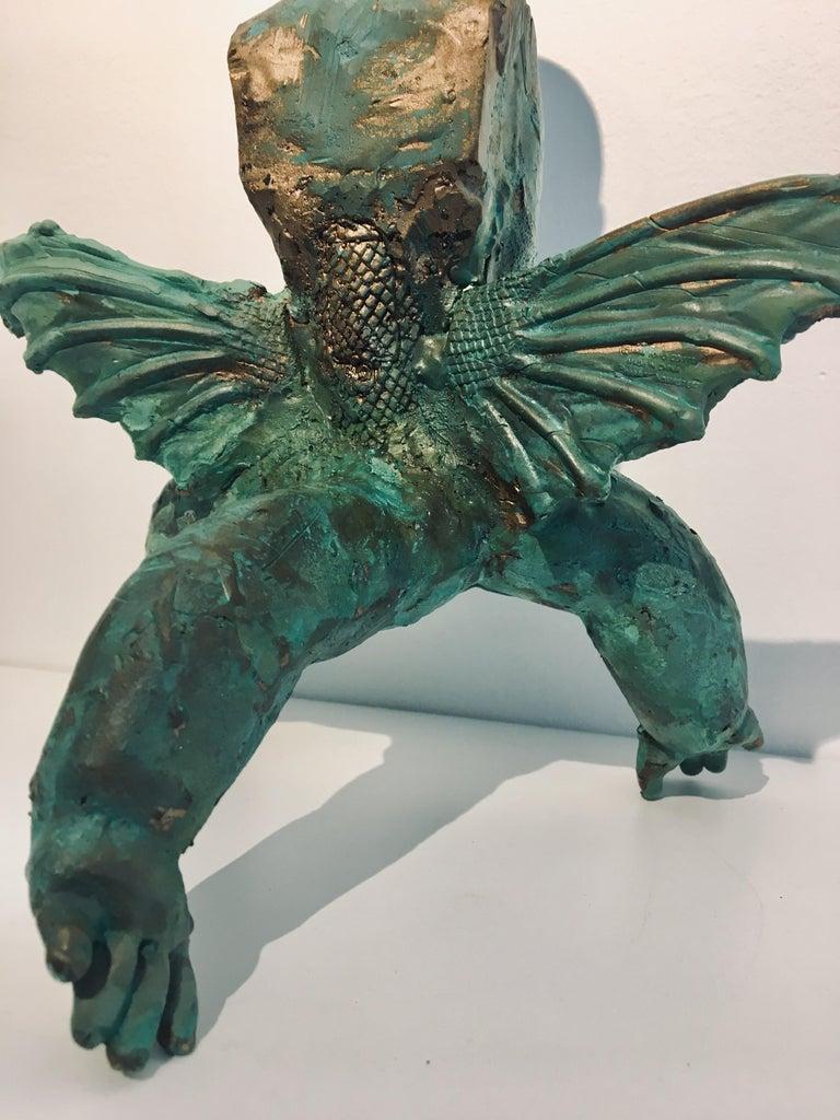 Modern Bronze Relic Sculpture of figure with 3 legs: 'Rhoman Fertility Goddess' For Sale 8