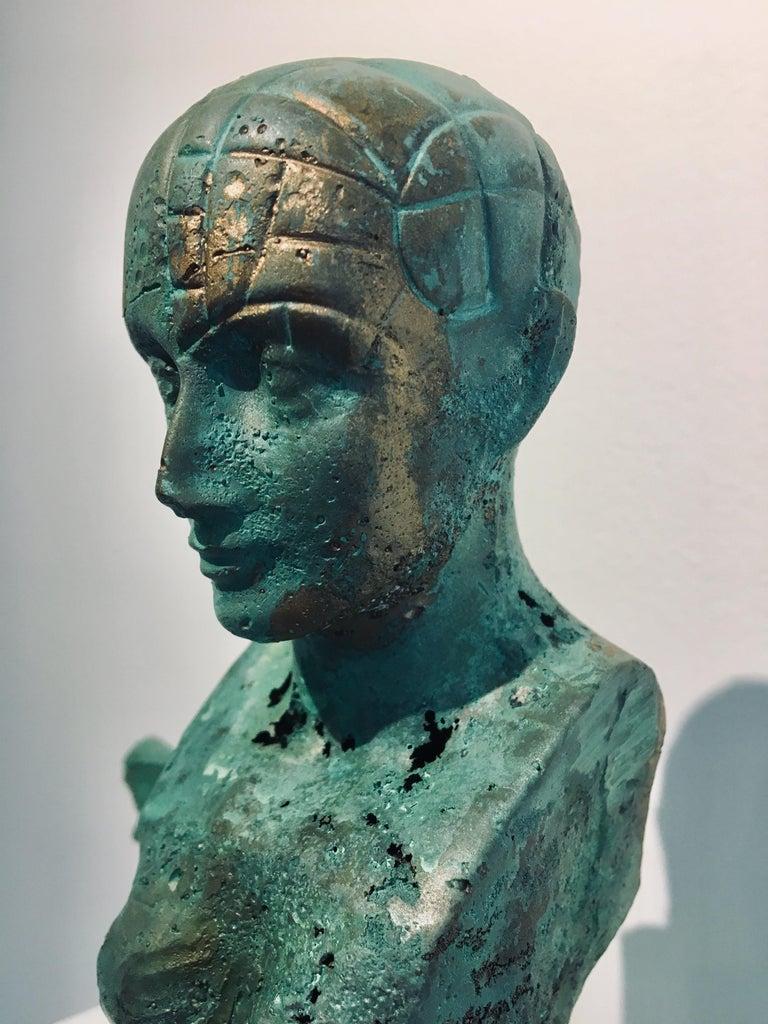 Modern Bronze Relic Sculpture of figure with 3 legs: 'Rhoman Fertility Goddess' For Sale 1