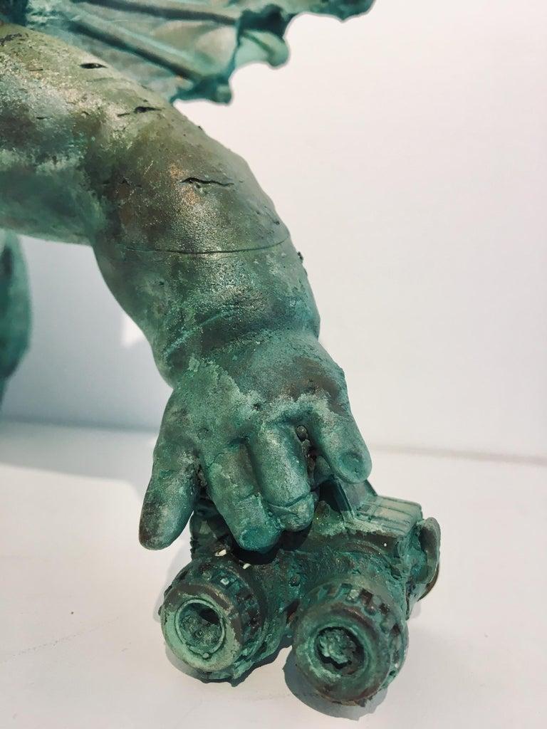 Modern Bronze Relic Sculpture of figure with 3 legs: 'Rhoman Fertility Goddess' For Sale 5