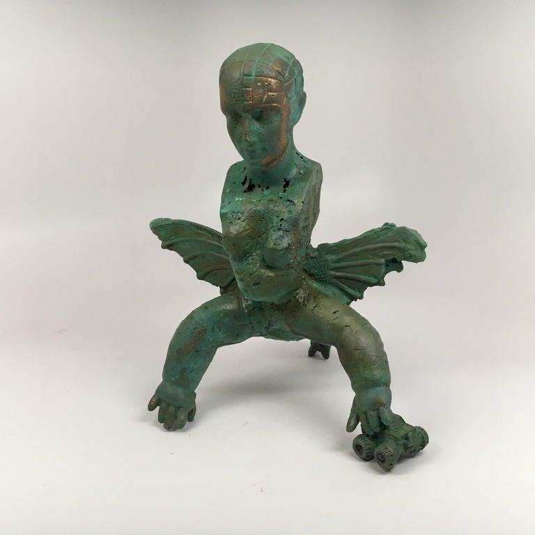 Joshua Goode Figurative Sculpture - Modern Bronze Relic Sculpture of figure with 3 legs: 'Rhoman Fertility Goddess'