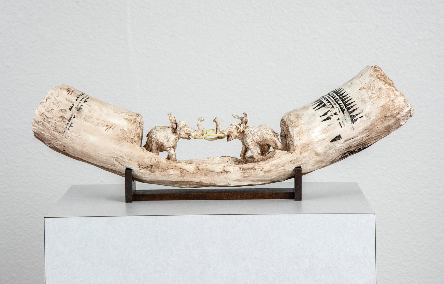 Tusk Sculpture: 'Fighting Mammoths Carved Mammoth Tusk'