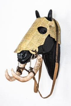 Horse Head Sculpture: 'Horse Head Armor with Carved Baby Mammoth Tusk Bridle'