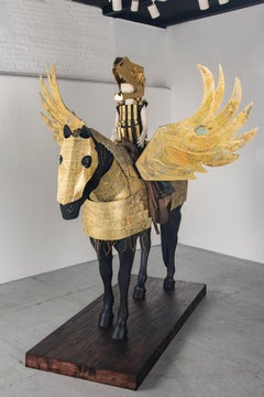 Life Size Sculpture of Human figure on Horse: 'Golden Pegasus Armor'
