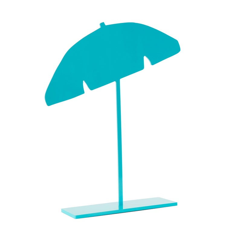 Joshua Jensen-Nagle Figurative Sculpture - Beach Umbrella (Aqua)