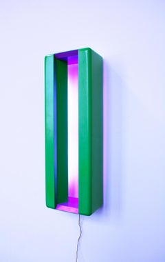 Window, abstract light sculpture, purple and green