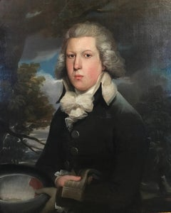 Portrait of an English gentleman with gloves and hat