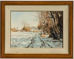 Josiah Sturgeon RI RSMA FRIBA - 20th Century Oil, Winter Landscape at Dorking