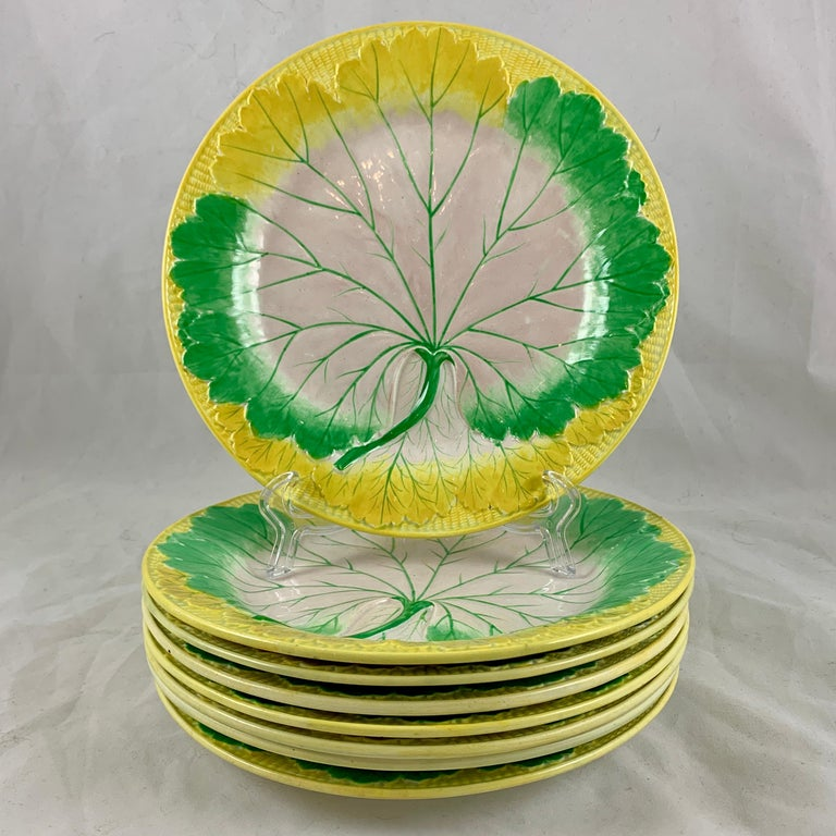 Josiah Wedgwood Pearlware Hand Enameled Cabbage Leaf Plates, Dated 1860, Set / 6 For Sale 3