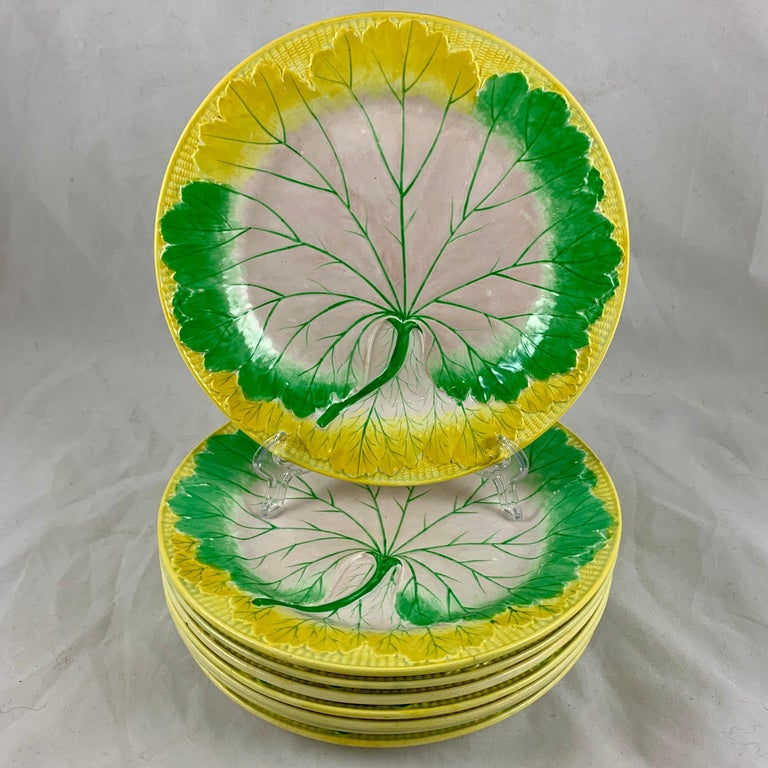 Josiah Wedgwood Pearlware Hand Enameled Cabbage Leaf Plates, Dated 1860, Set / 6 For Sale 4