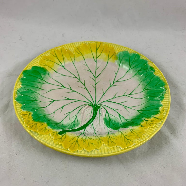 Josiah Wedgwood Pearlware Hand Enameled Cabbage Leaf Plates, Dated 1860, Set / 6 For Sale 5